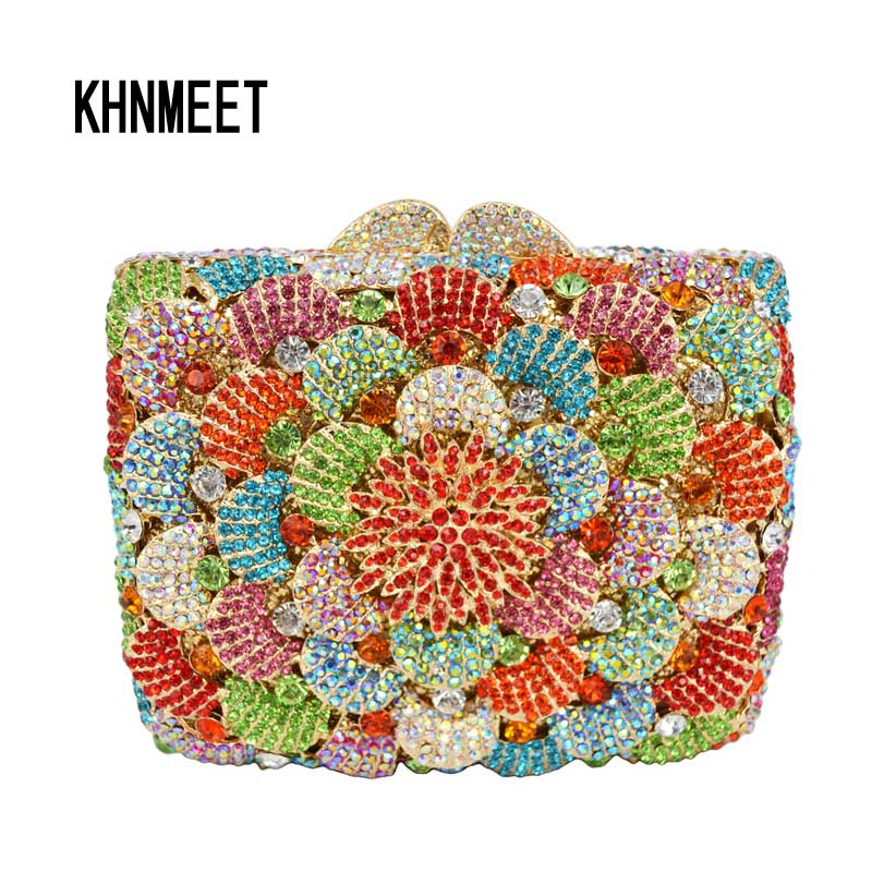 Multi color Pattern Gold Diamond Crystal Evening Bag Metal Studded Silver Women Clutch Party Purse Bag