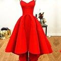 2016 Red Alto Bajo Prom Vestidos de Fiesta Novia Atan Para Arriba