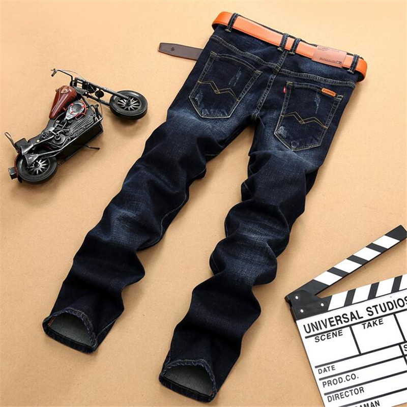 ФОТО Autumn and winter new high-quality stretch men's jeans, retro dark blue fashion Slim casual denim men's pants classic