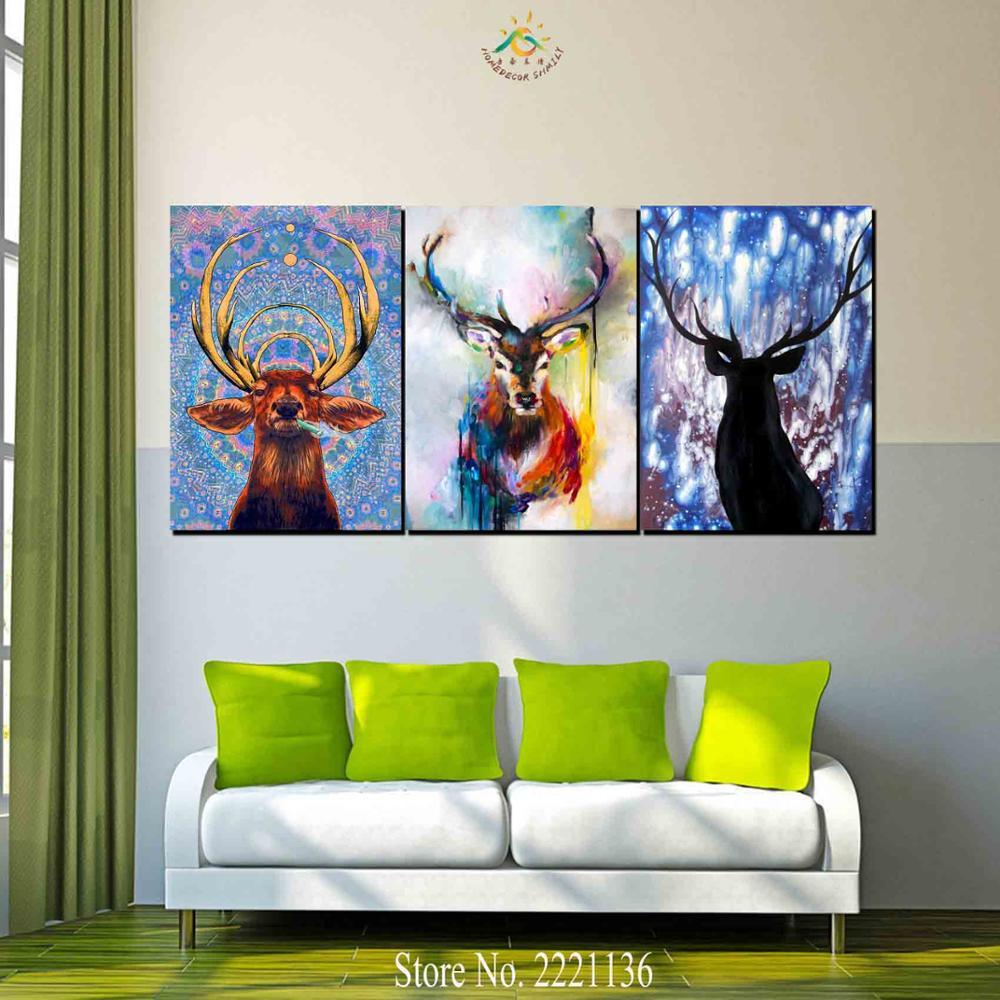3 Pieces Abstract Deer Art Modern Wall Art Canvas Printed
