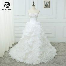 Vestidos De Noiva Custom Made Sweetheart Kralen Pailletten Organza Ruches Trouwjurken Robe De Mariage Pleats Bruidsjurken