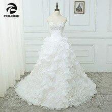 Vestidos De Noiva Custom Made sevgiliye boncuk Sequins organze Ruffles gelinlik Robe De Mariage pileleri gelinlikler