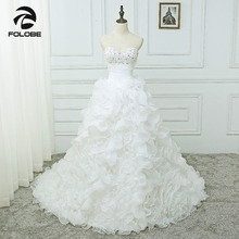 Vestidos De Noiva 사용자 정의 만든 아가씨 구슬 장식 조각 Organza Ruffles 웨딩 드레스 Robe De Mariage Pleats Bridal Gowns
