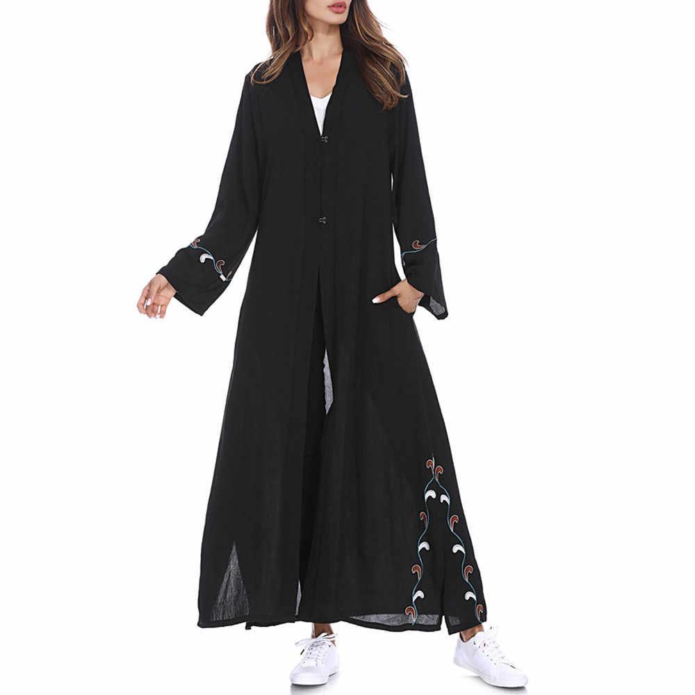 2019 мусульманские, исламские женщины кардиган с вышивкой длинное пальто Ближний Восток длинный исламский халат одежда Восточный халат из марокена абайя Турция