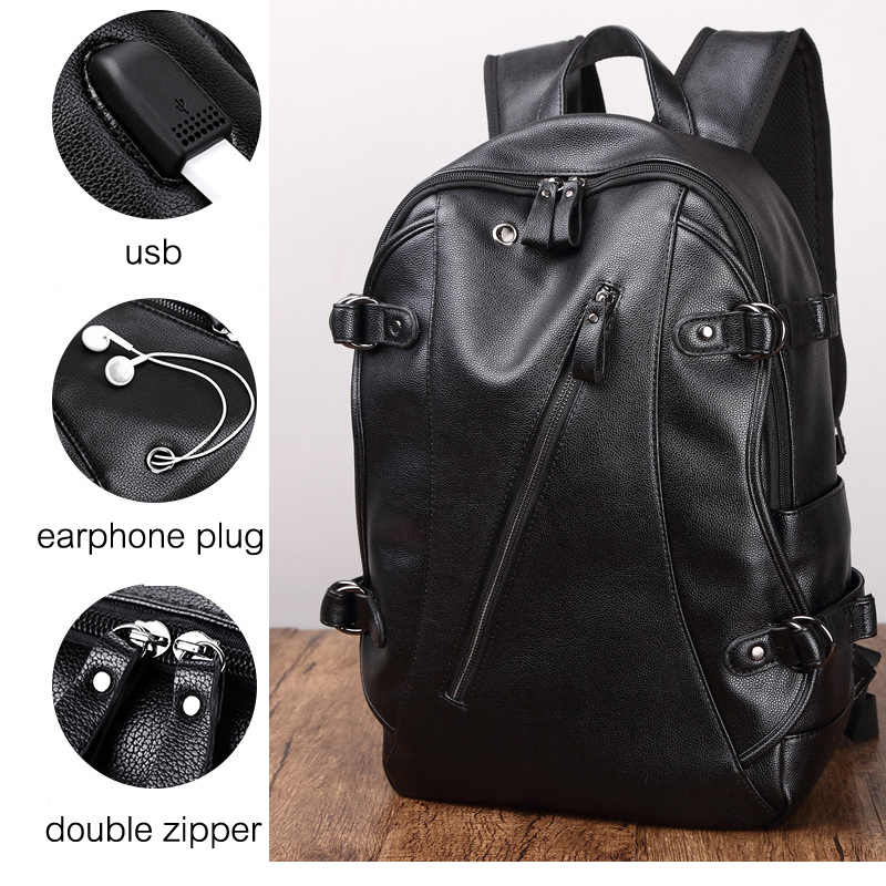 Simple Patchwork Large Capacity Mens Leather Backpack For Travel Casual Men Daypacks Leather Travle Backpack Mochila Waterproof #2