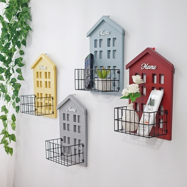 Vintage pastoral small house wall shelf living room wall mounted storage rack wall flower shelf room hanging decoration 1