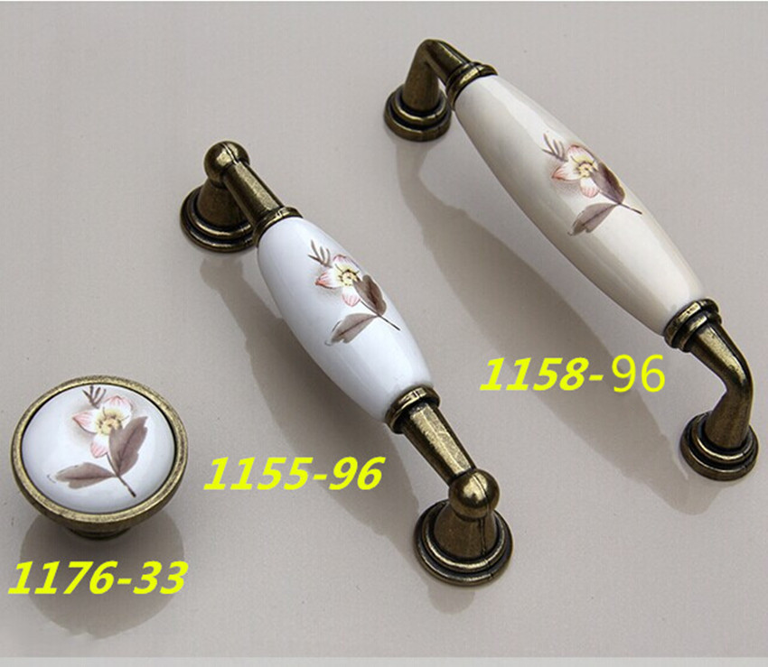 96mm antique brass kitchen cabinet handle rustico Rural ceramic dresser pull bronze drawer  furniture handles knobs 3.75