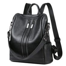Fashion Echtes Leder Frauen Rucksack Vintage Frauen Umhängetasche Mädchen Weibliche Schul Beutel Taschen Femininas
