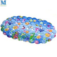 Shell Printing Bathroom Mats PVC Anti Slip Shower Mat Bathroom Shower Rugs With Suction Cups