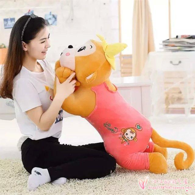 large 100cm cartoon prone monkey, pink cloth monkey plush toy sleeping pillow ,birthday gift h945 large 90cm cartoon pink prone pig plush toy very soft doll throw pillow birthday gift b2097