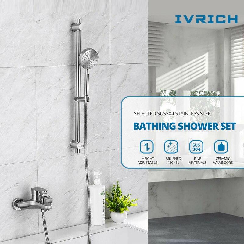IVRICH Stainless Handheld Shower System Bathroom Slide Bar Shower Set Stainless Hand Shower Head Bathtub Mixer
