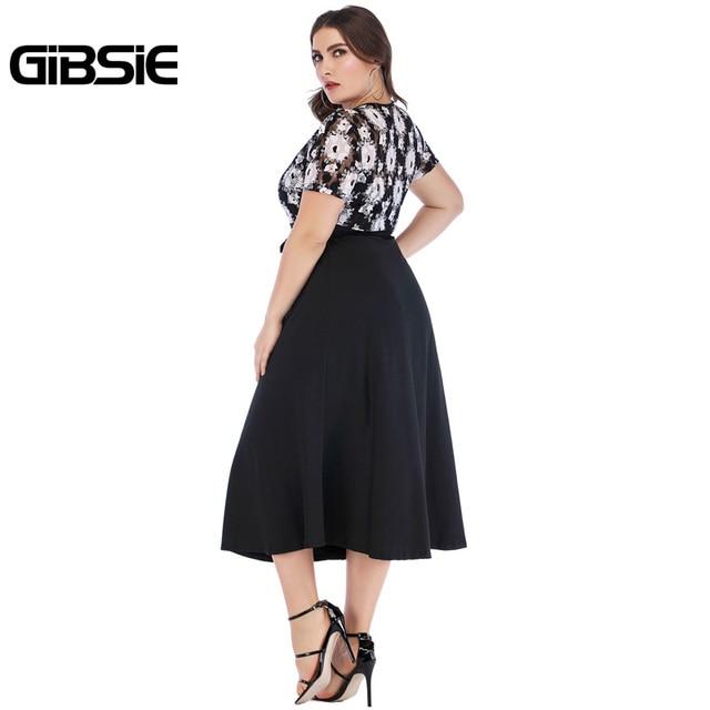 GIBSIE 5xl 4xl Vintage Floral Lace Casual Party Dress Summer Women Black Elegant Plus Size V Neck Short Sleeve A Line Long Dress 2