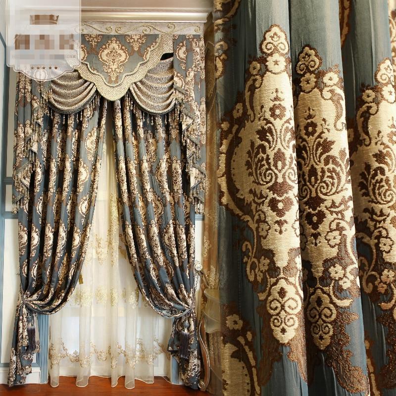 Custom Curtains Luxury European Jacquard Cloth Bedroom Living Room Chenille Buy A High Fixed Width