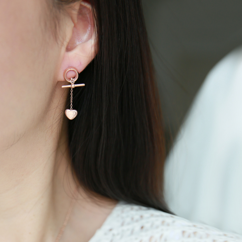 YUN RUO 2018 Forever Love Heart Stud Earring Woman Rose Gold Color Titanium Steel Jewelry Girl Gift Party Never Fade Wholesale