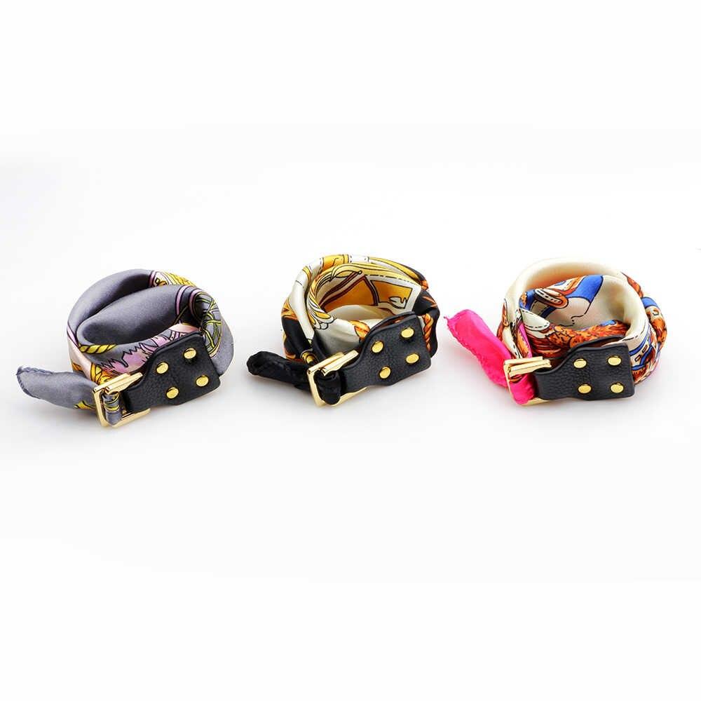 UBUAUTY szale jedwabne bransoletka szalik z kwiatami skórzana klamra DIY nadgarstek osobowość bransoletki dla kobiet biżuteria bransoletka Charms