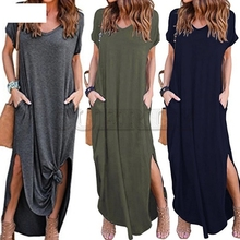 Womens Loose Summer Beach Gallus Short Sleeves Floor-Length Long Dress G3