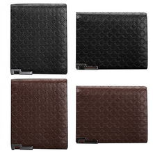 Men's Short Faux Leather Tartan Pattern Zipper Wallet Card Money Clutch Billfold BVZI