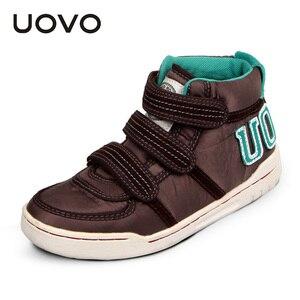 Image 2 - Uovo осень зима Детская мода повседневная обувь Лидер продаж Обувь для мальчиков и девочек Mid CUT совета Обувь дети Спортивная обувь размер EUR 28 # 39 #