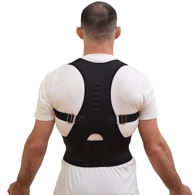 Aofeite Unisex S-XXL Negro Ajustable de Hombro Postura Volver Corrector Apoyo Cinturón Corsé Bandas Para Hombres Mujeres Enderezadora Trasera