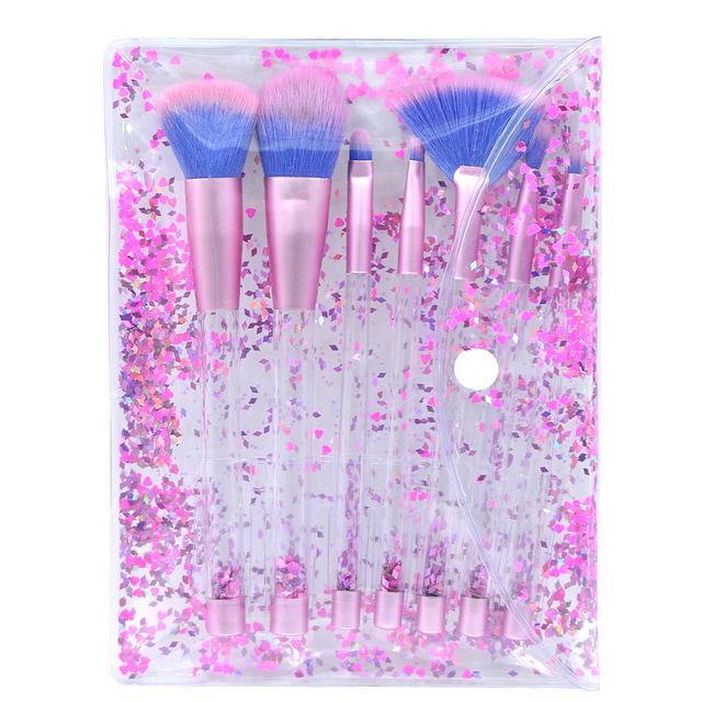 Kaizm 7pcs Diamond Makeup Brushes sets with Bag Crystal Makeup Brush kits Eyeshadow Contour Powder Brush Quicksand Glitter
