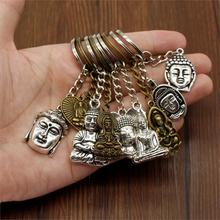Retro Religious Jewelry Key Chain Men Buddha Statue Pendant Buddha Keychain Men Jewelry Car Key Chain Ring Holder Souvenir Gifts new fashion women heart rhinestone keychain pendant car key chain ring holder jewelry exquisite gifts m23