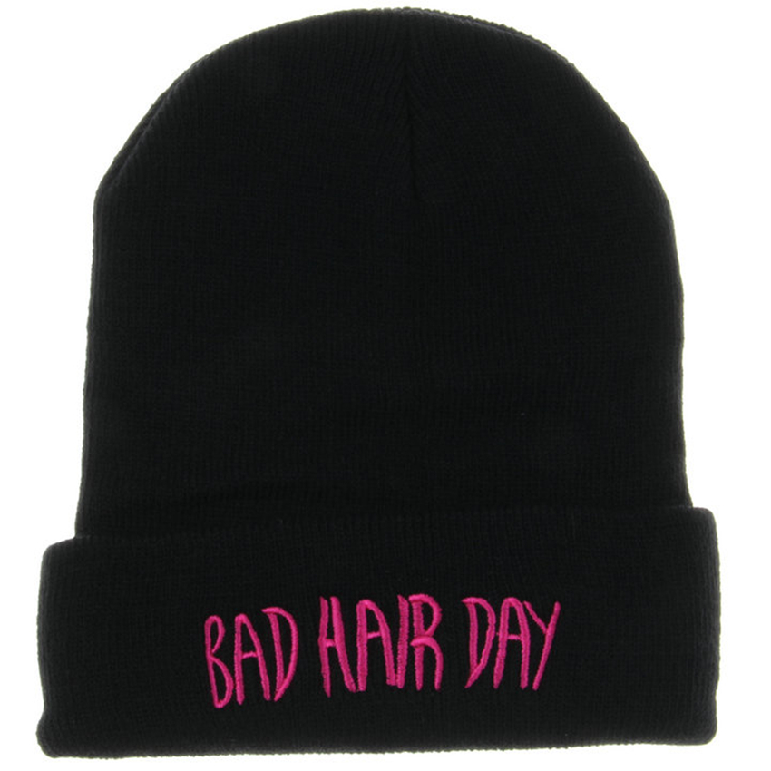 Hot Sale High Quality Embroider Letter BAD HAIR DAY Beanies Casual Winter Hats for Men Women Touca Acrylic Knitted Hip Hop Caps winter hats for men double knitted warm beanies women casual hip hop cap plus velvet mask caps for women hat bad hair day