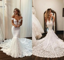 Sexy Beach Wedding Dresses Mermaid Off the Shoulder Button Back Custom Plus SIZE недорого