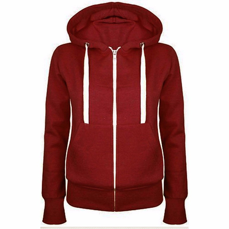 New Autumn And Winter Boutique Women's Hooded Solid Color Sweatshirts Casual Black Jacket Loose Long-sleeved Multicolor Coat