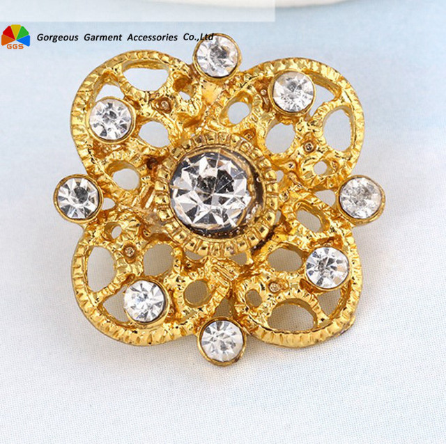 50pcs 20mm Vintage Gold Metal Rhinestone Button Crystal Centerpieces with  Shank DIY Hair Accessory Browbands Wedding Decoration 319306f1416b