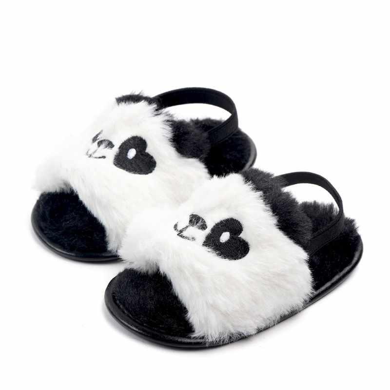 2019 г. Обувь для малышей с искусственным мехом для новорожденных девочек летние милые тапочки с принтом для малышей Нескользящая детская обувь принцессы для малышей