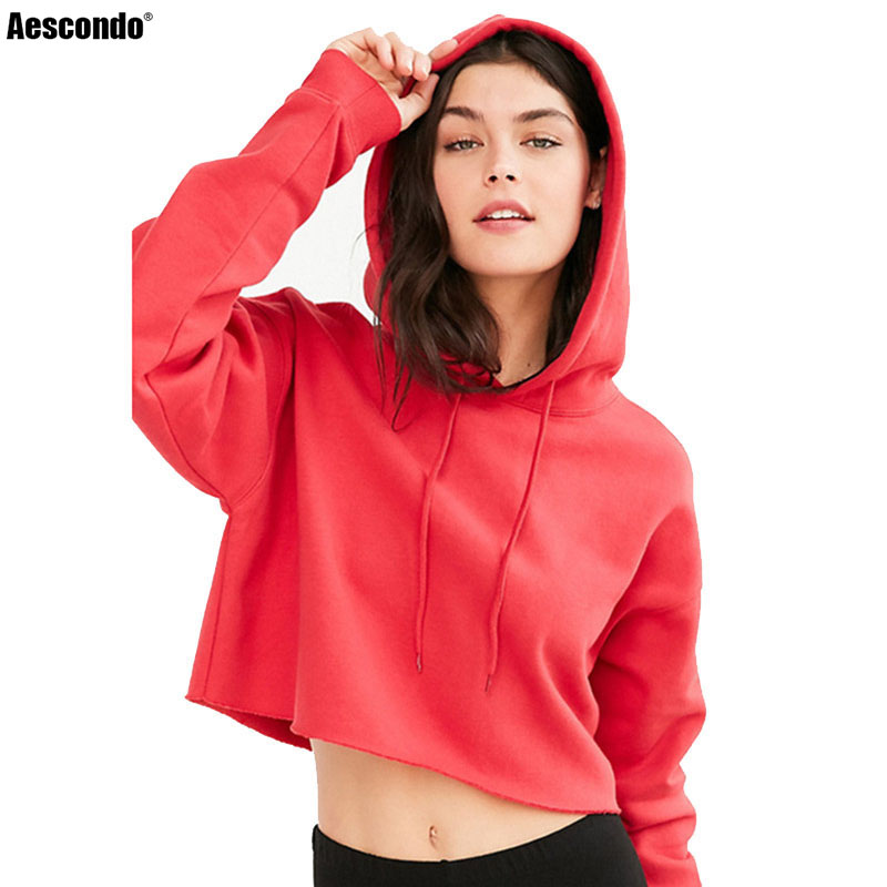 48db40182dd Detail Feedback Questions about Aescondo New 2018 Spring Sporty Short Crop  Hoodies Sweatshirt Woman European Fashion Cropped Hooded Tracksuits Moletom  ...