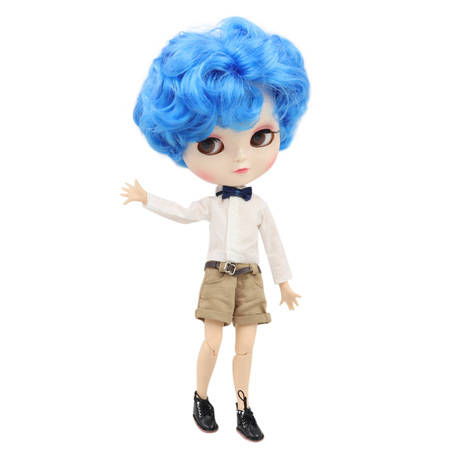 ICY Fortune Days factory doll male joint body 30cm white skin Handsome blue short curly hair DIY sd gift toy