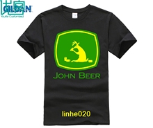 Funny Tee Shirt  John Beer Tractor Excavator Green T Shirts Man Short Sleeve T-Shirts Mens Cool Designs