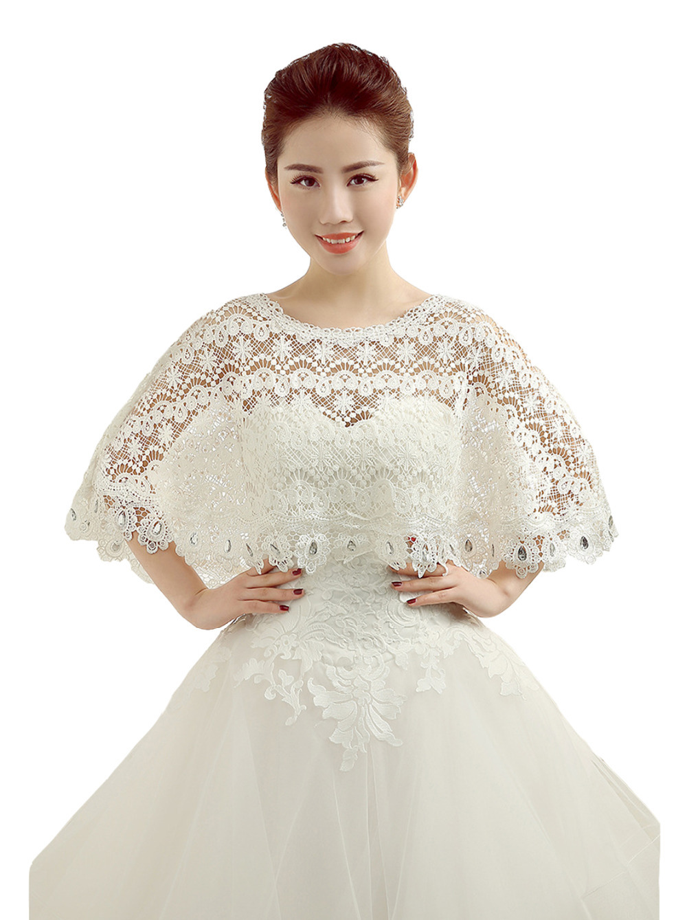 crocheted beige cream lace shrug crochet bridal shrug. Black Bedroom Furniture Sets. Home Design Ideas