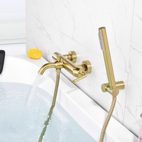 Brass brushed gold wall hot and cold shower flower sprinkler faucet bathtub edge floor type faucet