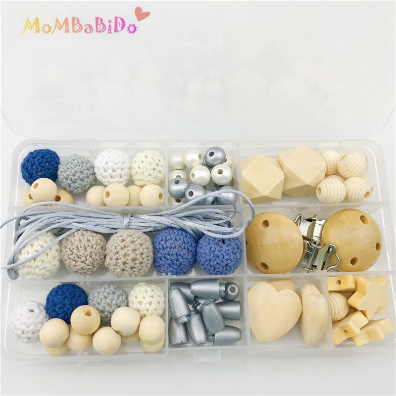 Baby Rattle Toy Silicone Beads Wooden Beads DIY Crafts Teething Jewelry Toys For Kids Teething Accessories Charistmas Gifts