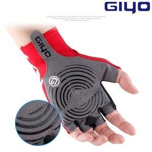Image 4 - Giyo brise vent cyclisme demi doigt gants anti dérapant vélo moufles course route vélo gant vtt Biciclet Guantes Ciclismo