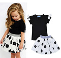 2017 New Fashion Summer Kids Girls Clothes Set Black Bowknot Short T-shirt +Flowers Ball Gown Dress 2pcs Clothing Sets H493