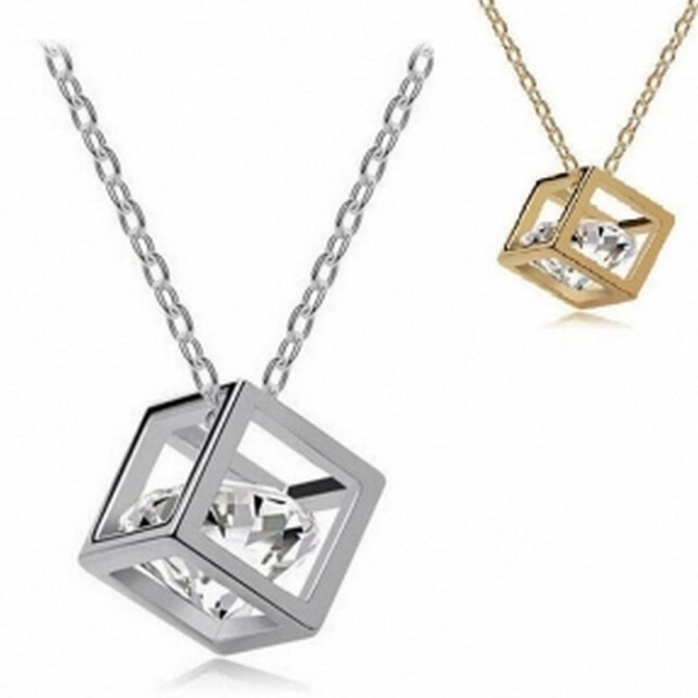 imixlot 2019 new Happiness Rubik Necklace for Women Fashion Jewellery Cubic Zircon Pendant Party Jewelry Accessories