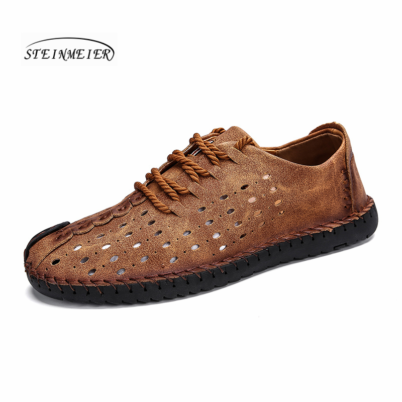 2019 Men's Shoes luxury Brand Casual Genuine Leather Shoes For Men lace up buckle Men Loafers Big Size Men Moccasins footwear