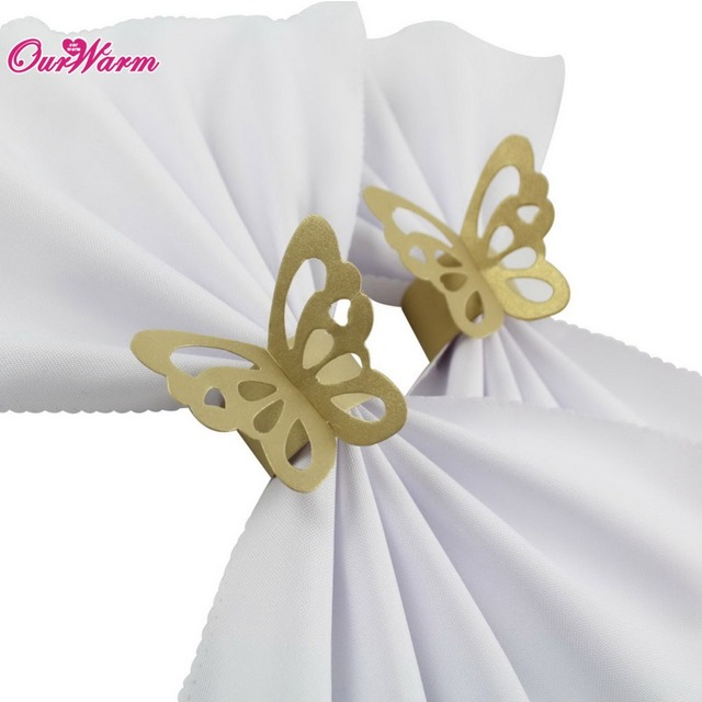 unidslote nacarado oro mariposa de papel para bodas partido servilleta de mesa