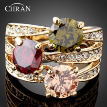 Chran Fashion Cubic Zircon Engagement Rings For Women Luxury Austrian Crystal Gold Color Party Accessories Jewelry