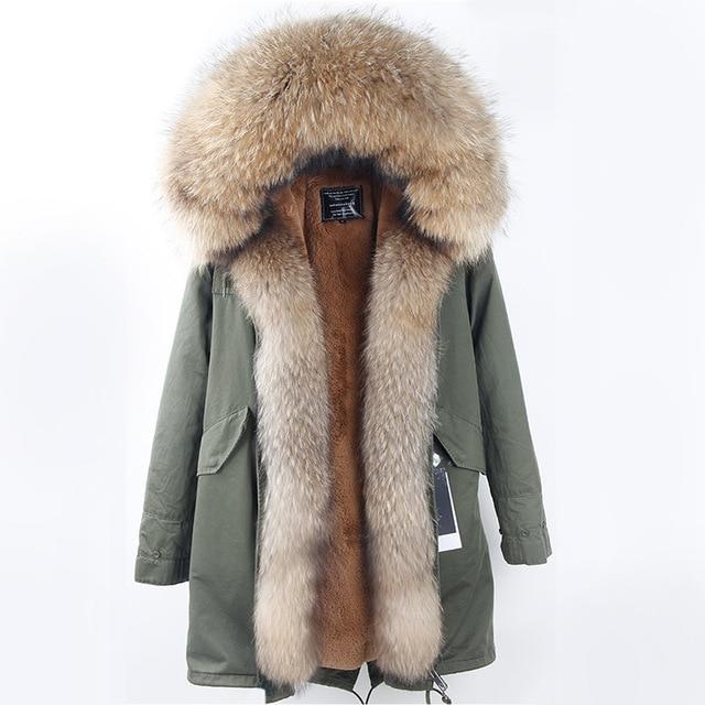 Korean Style 2017 New Women Fashion Big Real Raccoon Fur Hood Army Green Thick Coats Parkas Female Casual Zip Pockets Outwear