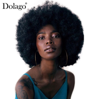 Mongolian Afro Kinky Culy Lace Front Human Hair Wigs Short Human Hair Lace Front Bob Wig Pre Plucked Dolago Remy