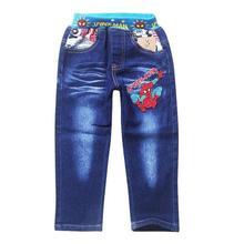 Джинсы для мальчиков 2-8 лет; детские джинсовые брюки с человеком-пауком; одежда для детей; сезон весна-осень; повседневные брюки для мальчиков; высокое качество