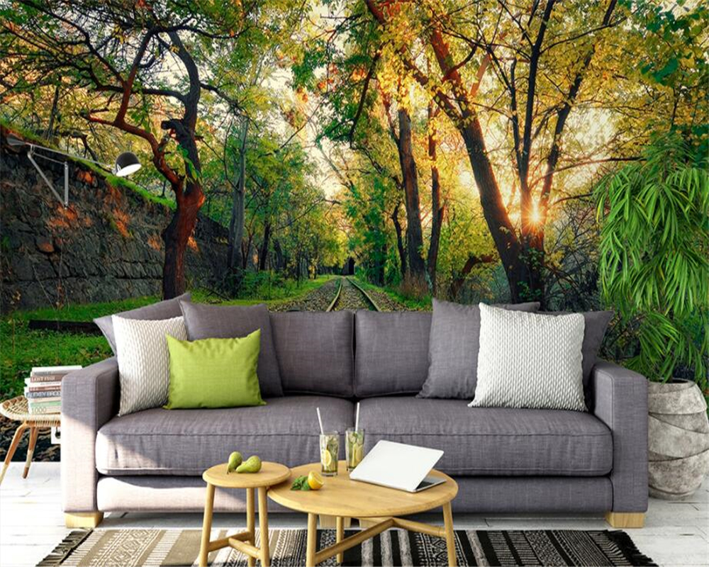 Custom wallpaper mural natural landscape wood train track custom wallpaper mural natural landscape wood train track background wall wallpaper for walls 3 d papel de parede beibehang in wallpapers from home amipublicfo Choice Image