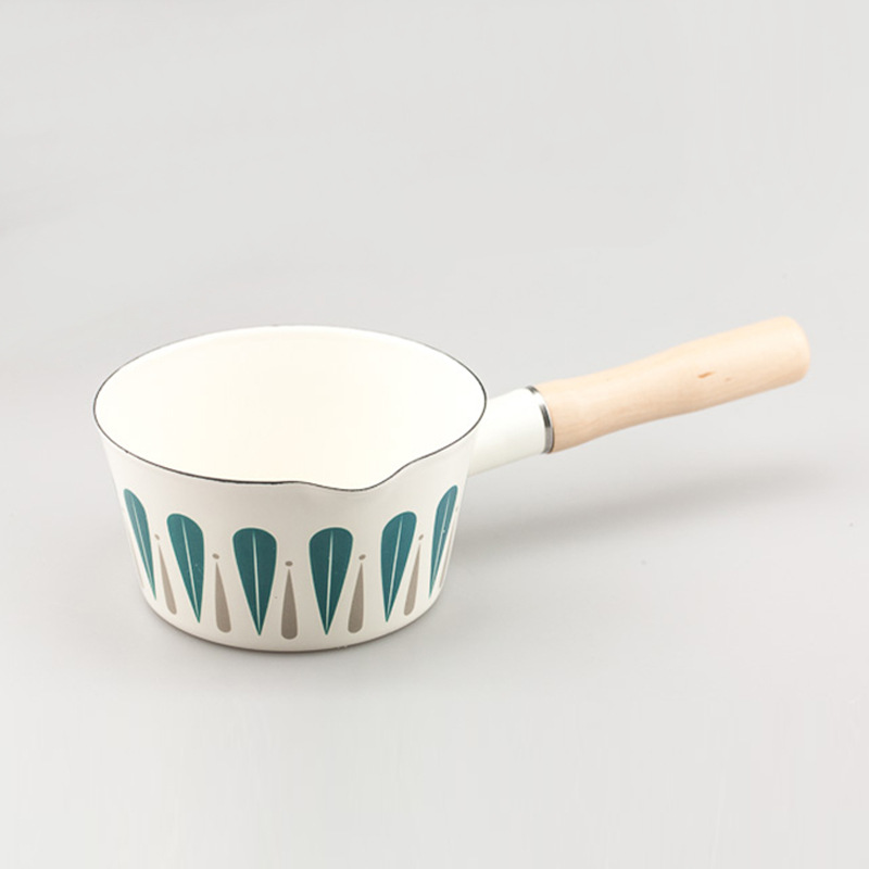 Pot à soupe en bois massif à poignée unique en émail de style japonais Pot à soupe Pot à oeufs bouilli Pot à nouilles est meilleur que l'acier inoxydable