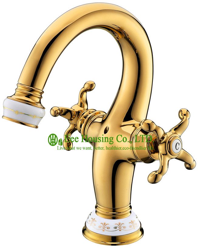 Free Shipping Brass Two-handles Basin Mixer,basin Faucet,gold-titanium And Ceramic Finished,bathroom Accessories