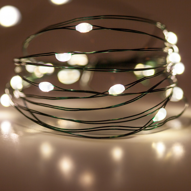 Battery Operated Green Cable 2.3M 20 LED Fairy String Lights Indoor Garland Lights Holiday Christmas Copper Wire String Lights