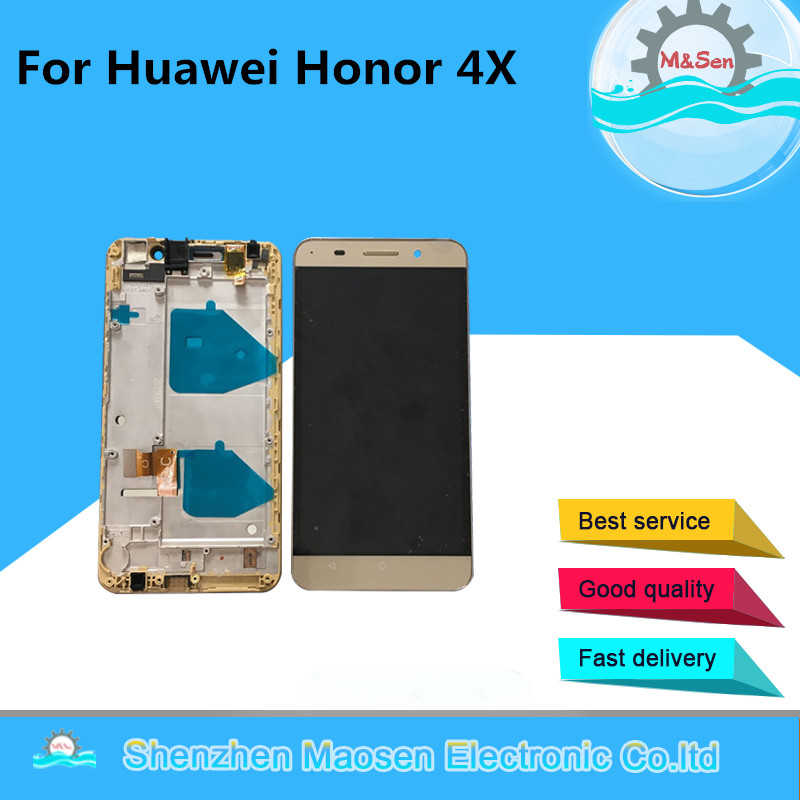 M Sen For Huawei Honor 4X LCD screen display touch panel digitizer with frame Black gold